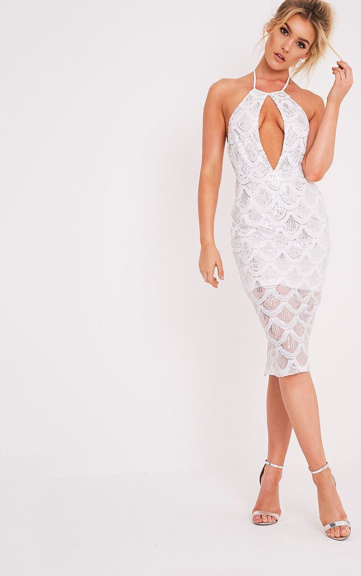 Amarie White High Neck Keyhole Sequin Midi Dress