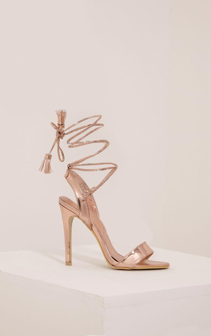 Camila Rose Gold Tassel Lace Up Heeled Sandals
