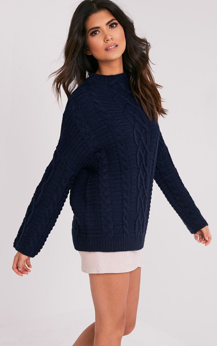 Giannae pull en tricot torsadé surdimensionné bleu marine 5