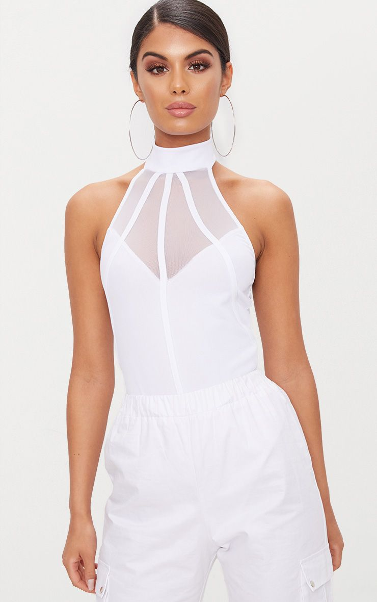 White High Neck Binded Detail Mesh Thong Bodysuit