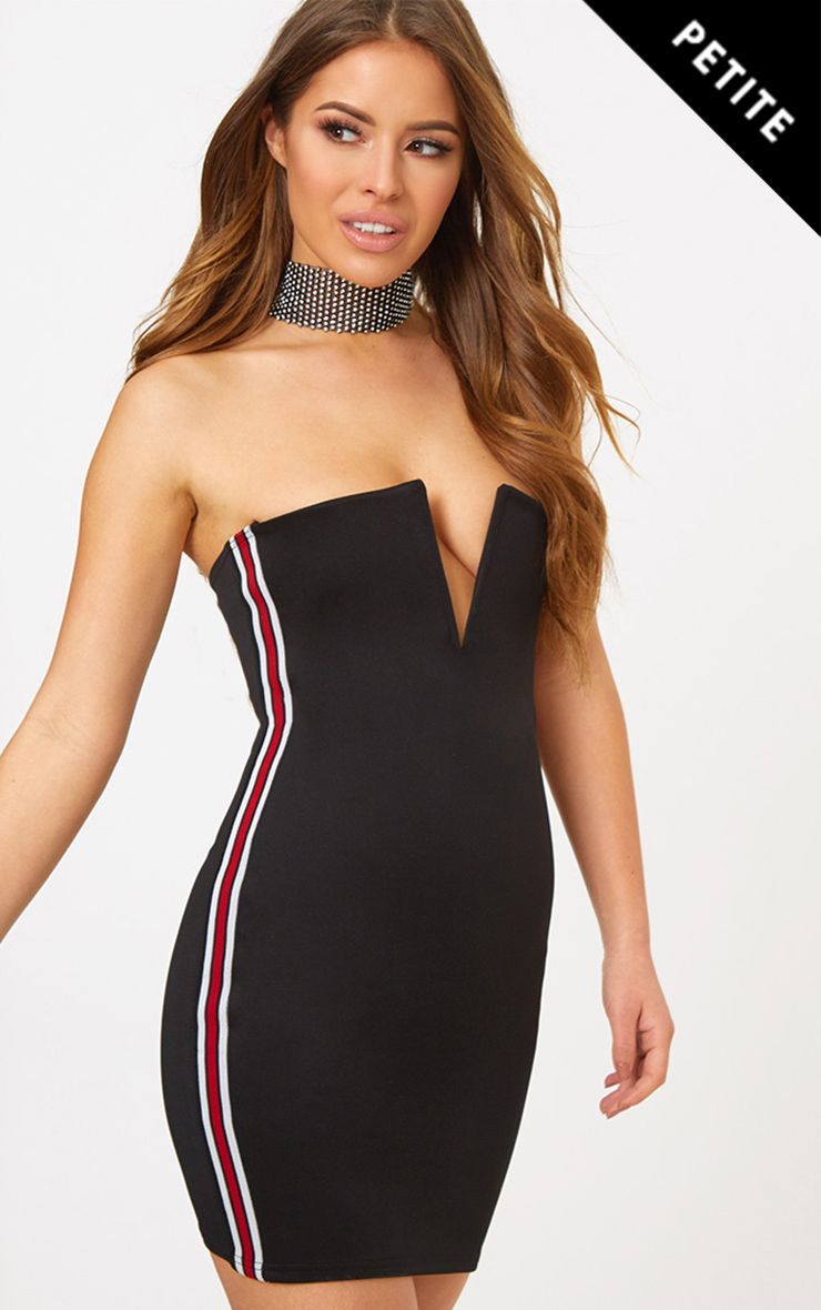 Petite Black Sports Rib V Plunge Mini Dress
