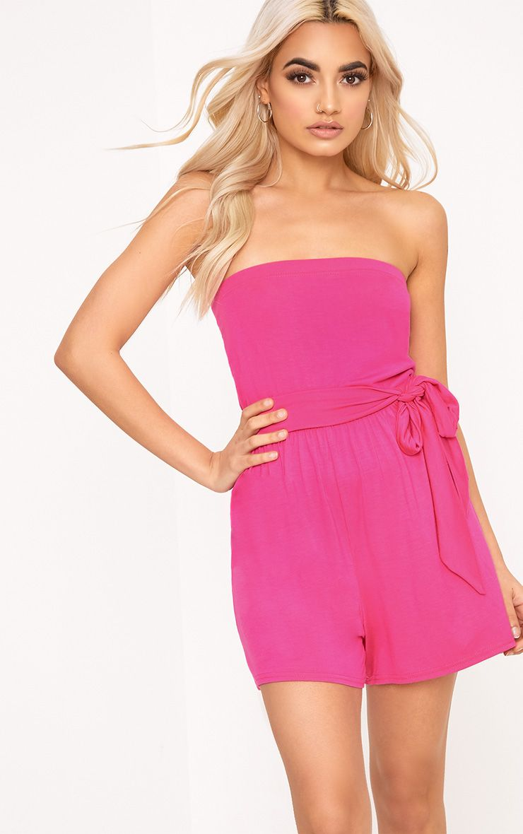 Ieshah Pink Jersey Bandeau Playsuit