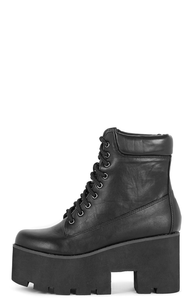 Product photo of Nova black lace up wedged boot black