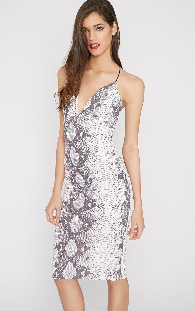 Abelia Snake Print Plunge Midi Dress 1