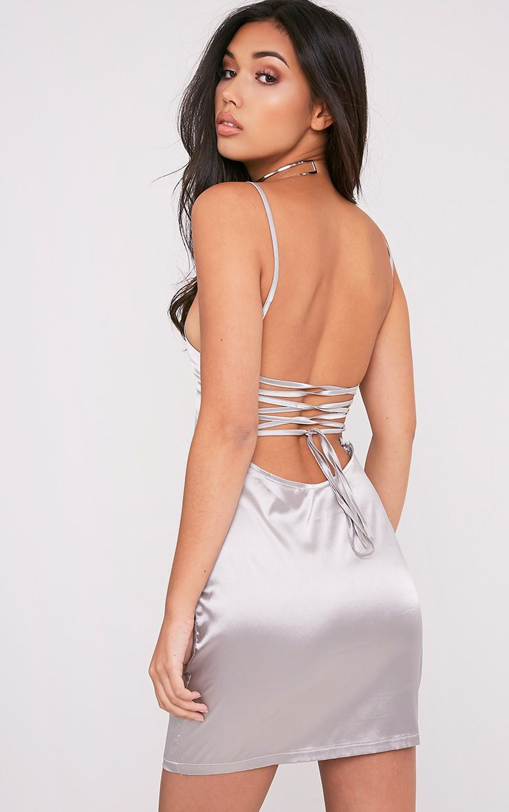 Sarna  Silver Tie Back Silky Slip Dress 1