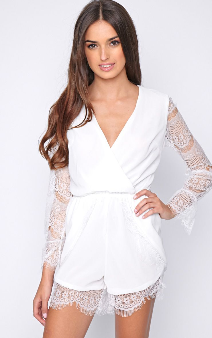 Jessa White Playsuit with Lace Sleeves 1