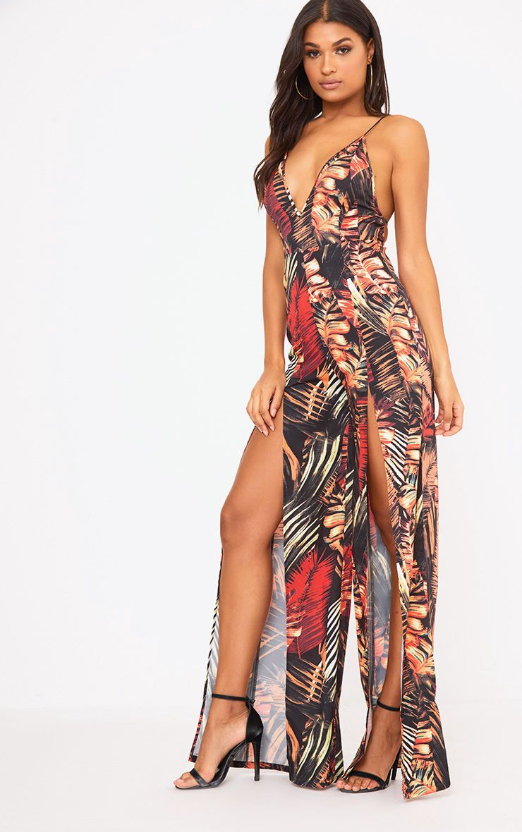 Orange Palm Print Leaf Split Leg Jumpsuit