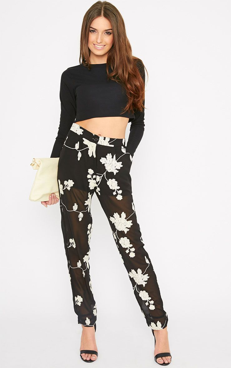 Aithne Black Floral Embroidered Sheer Trousers 1