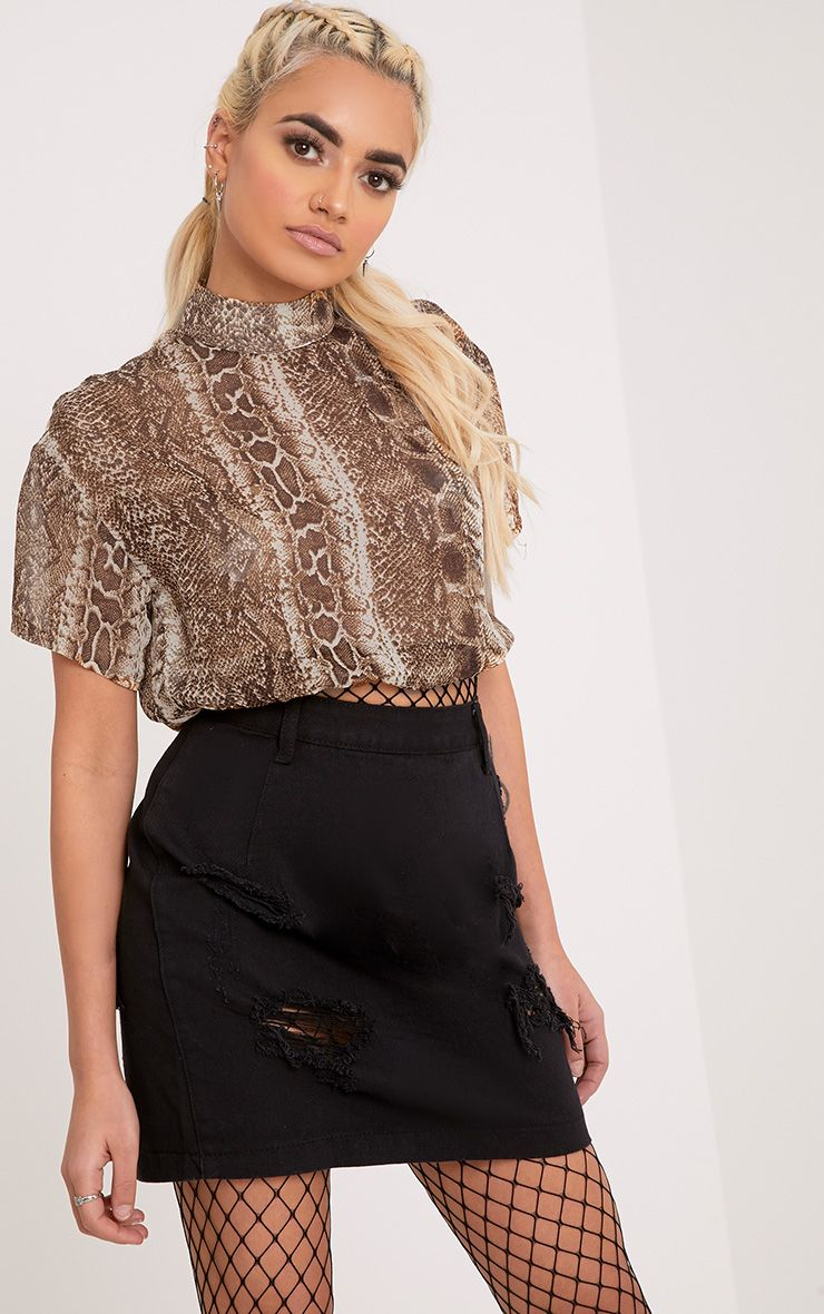Leo Brown High Neck Snake Print Chiffon Crop Top