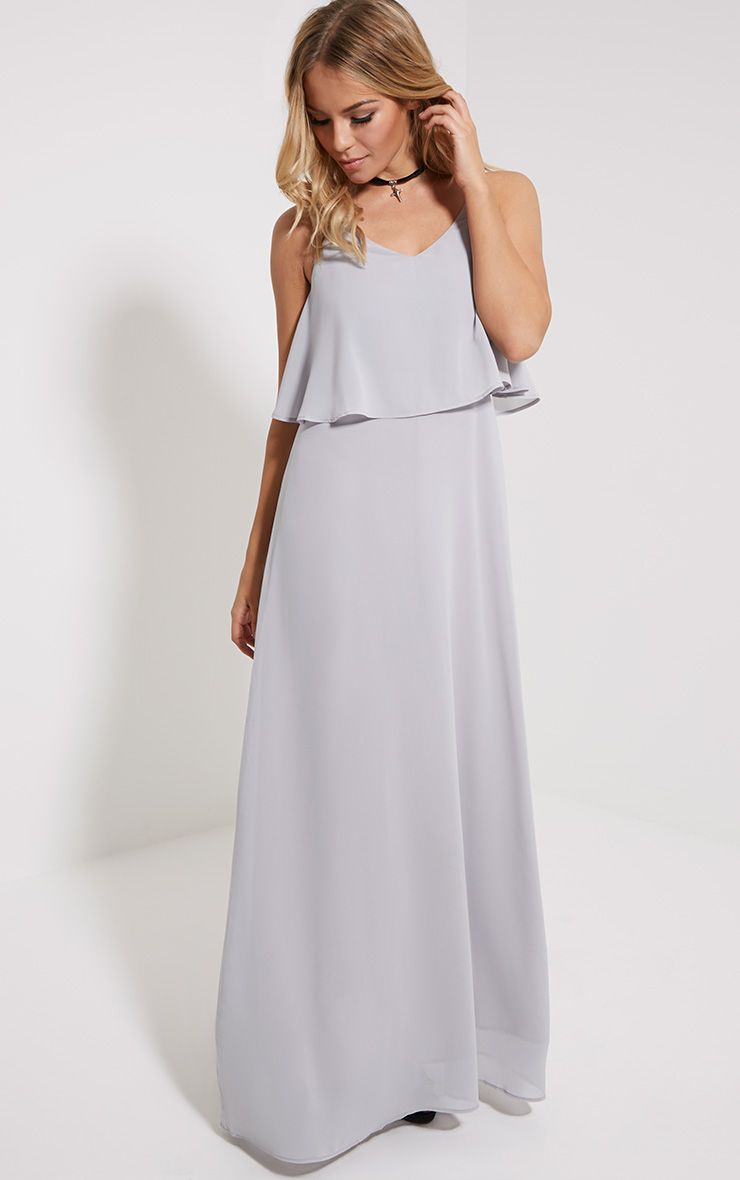 Rory Grey Frill Chiffon Maxi Dress 1