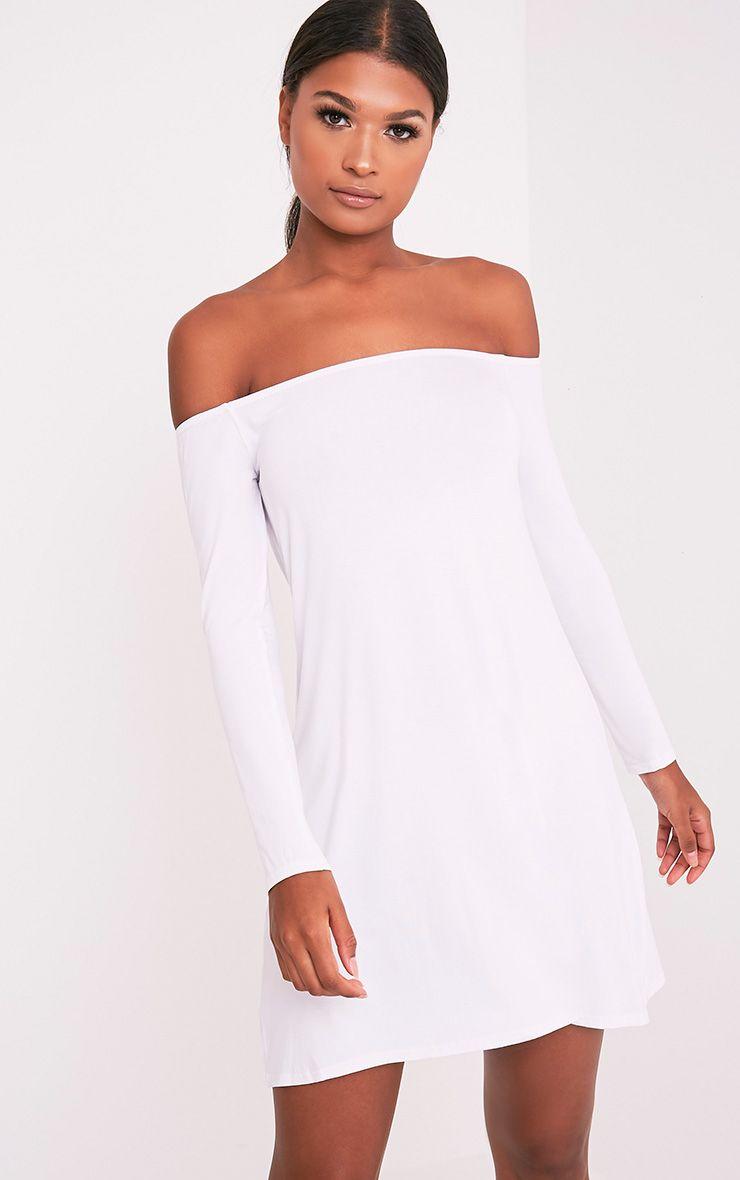 Lisa White Jersey Bardot Swing Dress 1