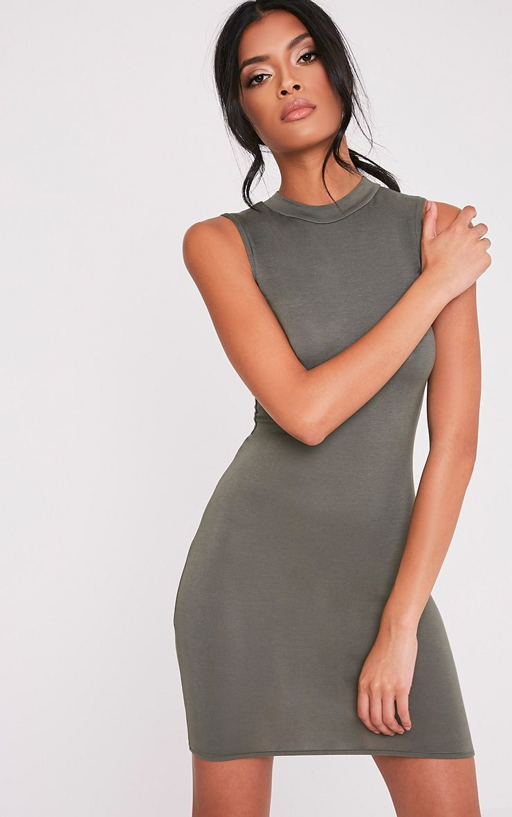 Rebecca Khaki High Neck Bodycon Dress