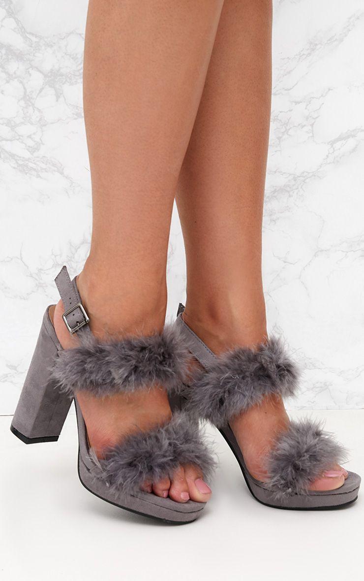 Grey Twin Strap Fur Platform Sandal