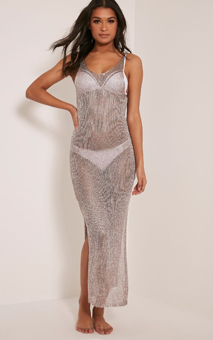 Denika Pewter Metallic Knit Maxi Dress