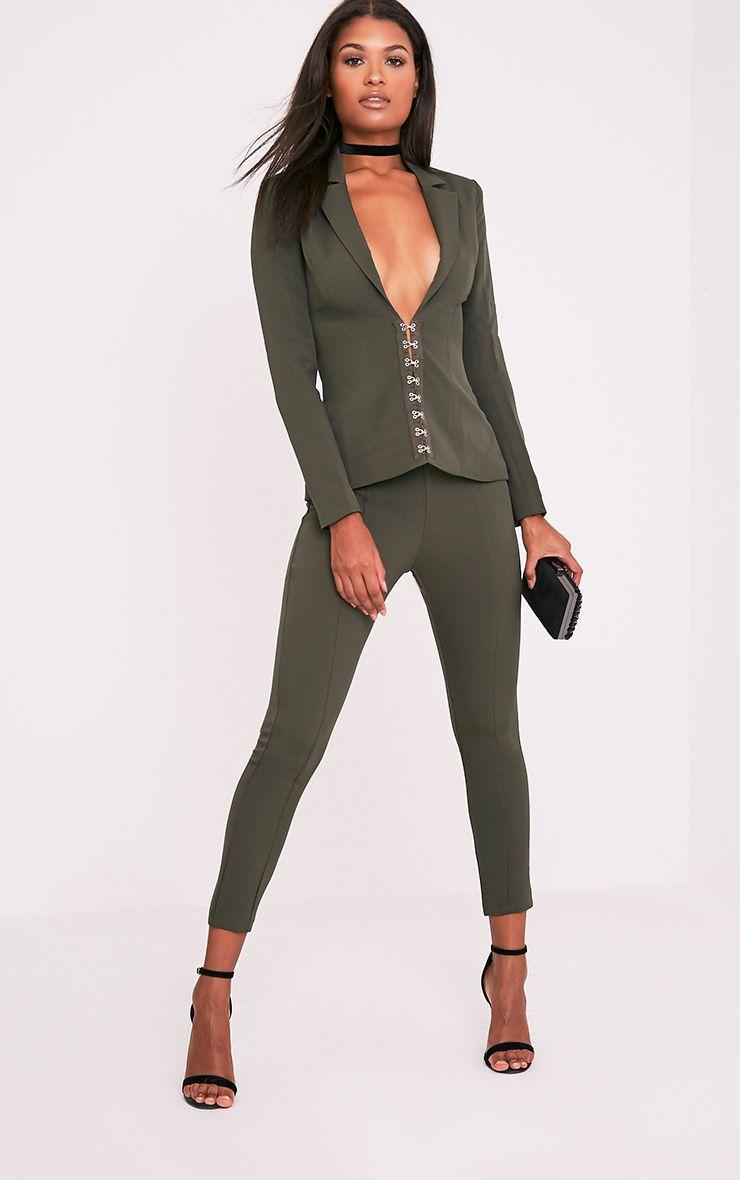 Ryena Khaki Cigarette Suit Trousers