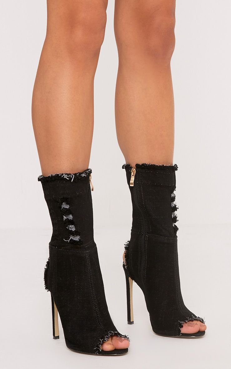 Anya Black Ripped Denim Cut out Sock Ankle Boots