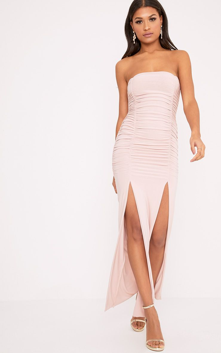 Nia Dusty Pink Ruched Detail Split Maxi Dress