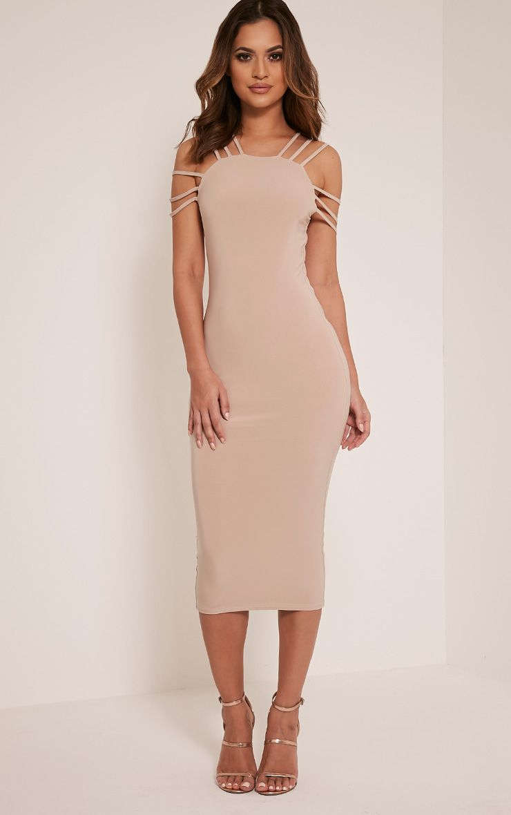Kellia Stone Multi Strap Detail Midi Dress 1