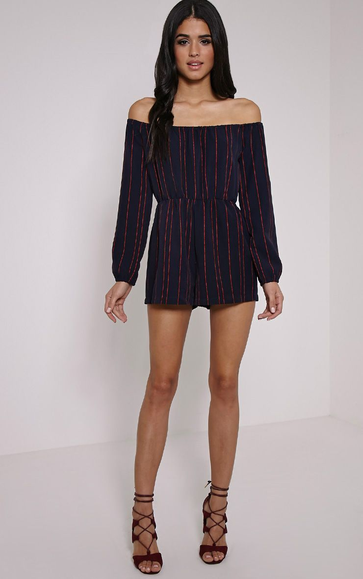 Kennie Red Striped Bardot Playsuit 1
