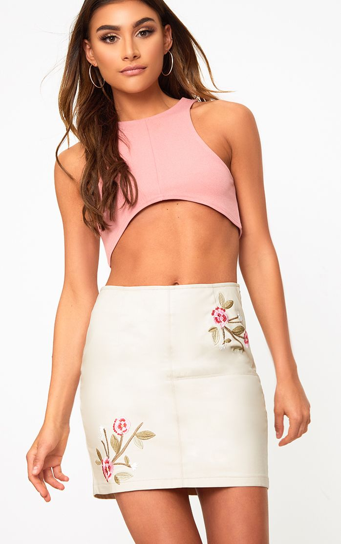 Stone Embroidered PU Mini Skirt
