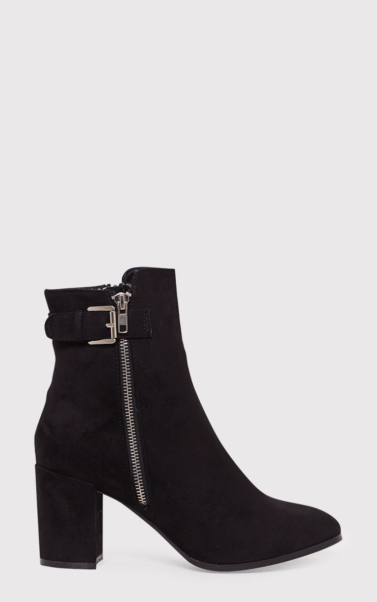 Karina Black Faux Suede Buckle Ankle Boots