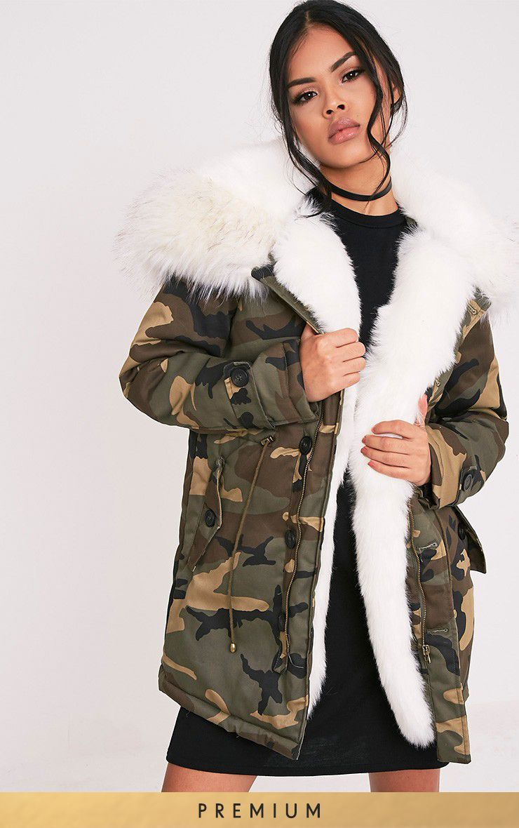 Fliss White Premium Camo Faux Fur Lined Parka