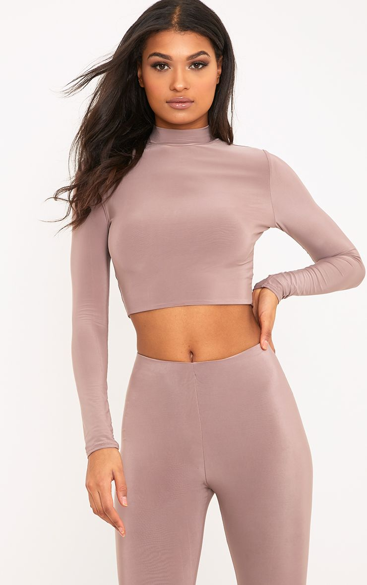 Rio Truffle Slinky High Neck Longsleeve Crop Top