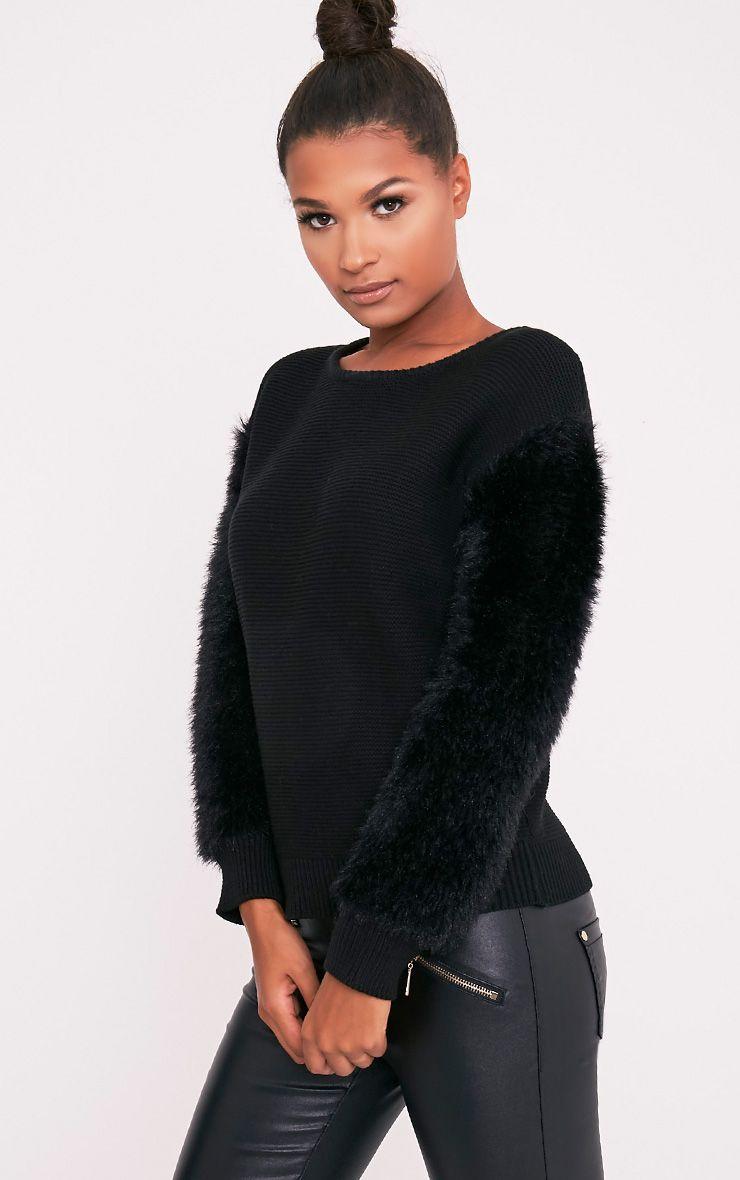 Rene pull tricoté fin à manches duveteuses noir 4