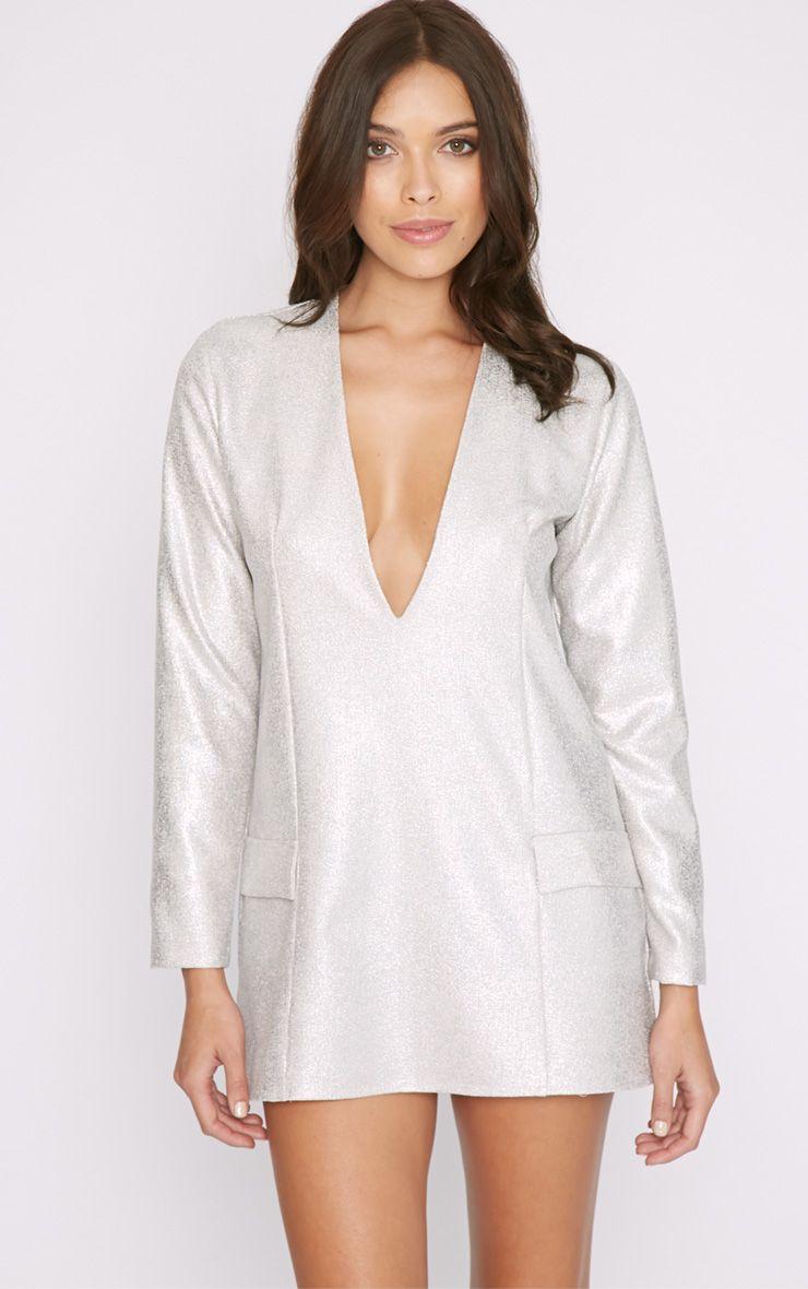 Jemima Silver Iridescent Blazer Dress 1