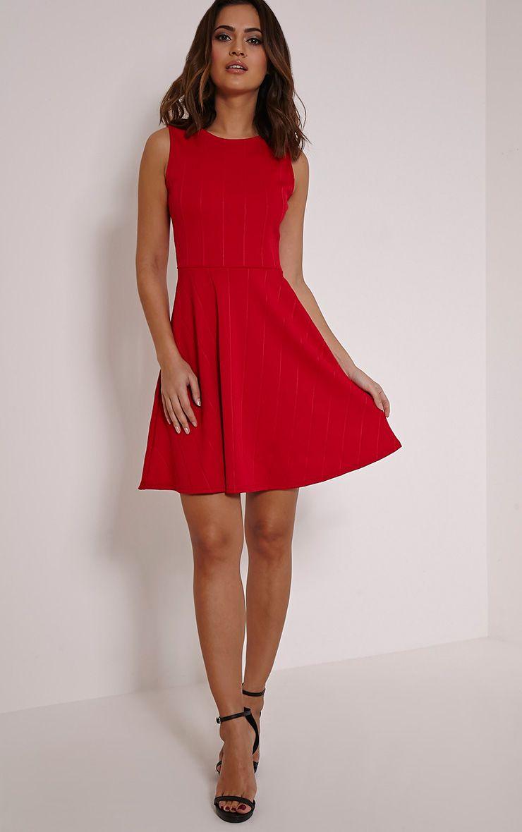 Millie Red Bandage Skater Dress 1