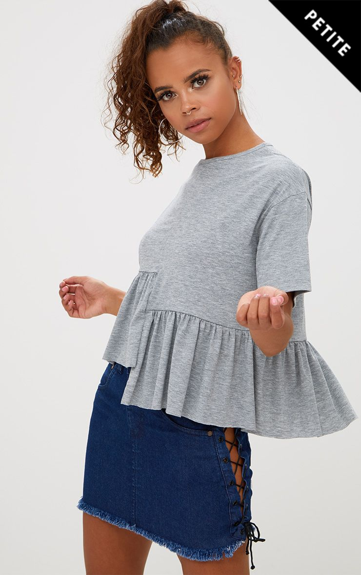 Petite Grey Marl Spliced Hem Crop Top