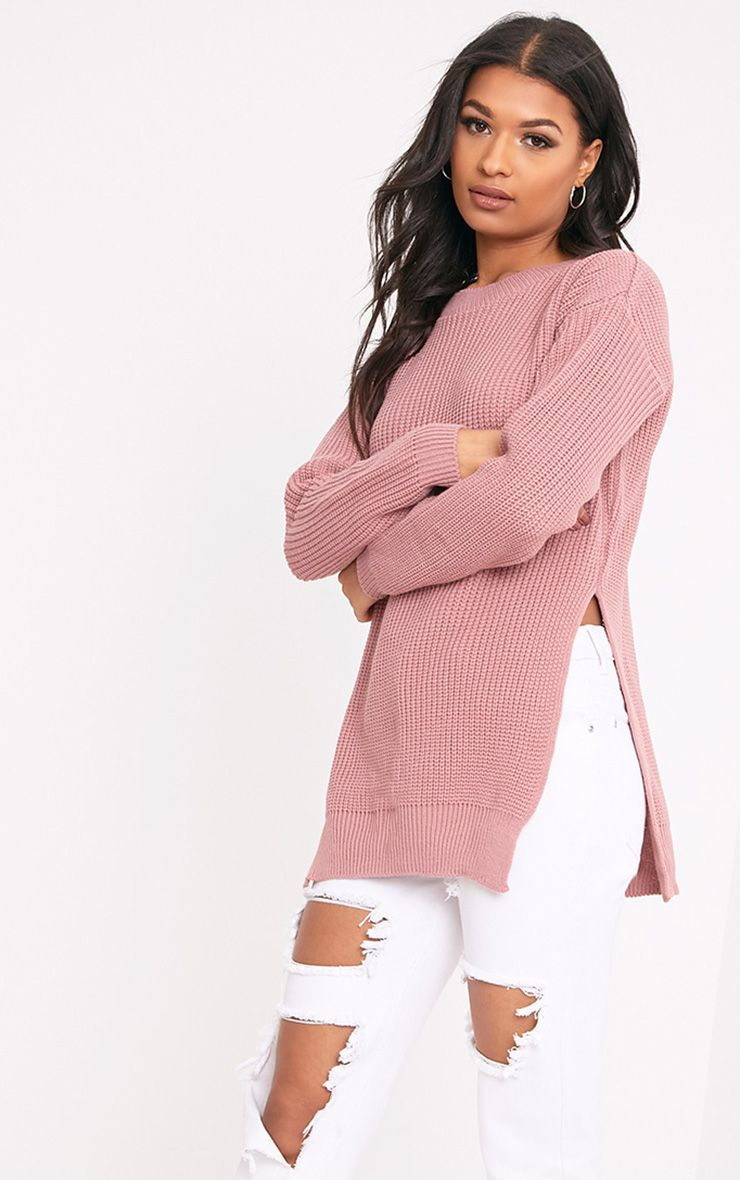 Rexx Mauve Round Neck Side Split Jumper