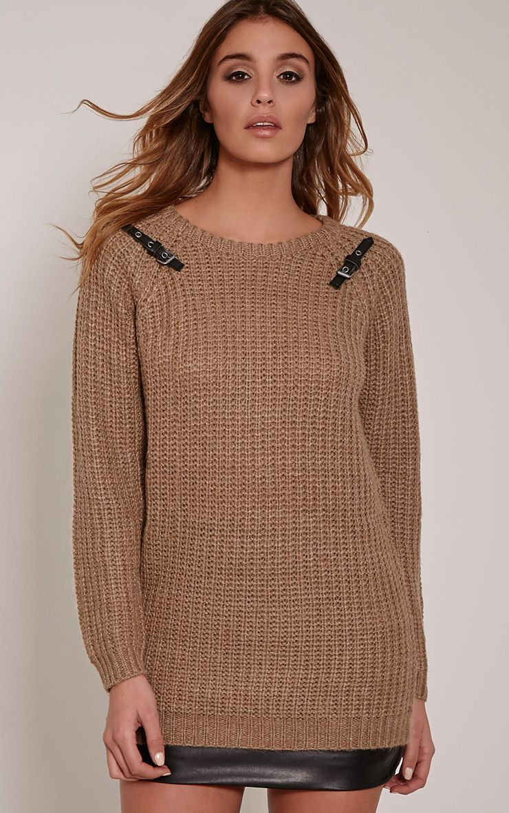 Emily Camel Buckle Detail Knitted Jumper 1