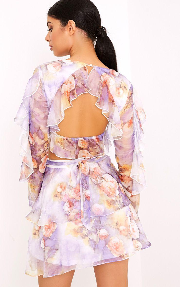 Anastacia Purple Printed Open Back Ruffle Soft Crop Blouse