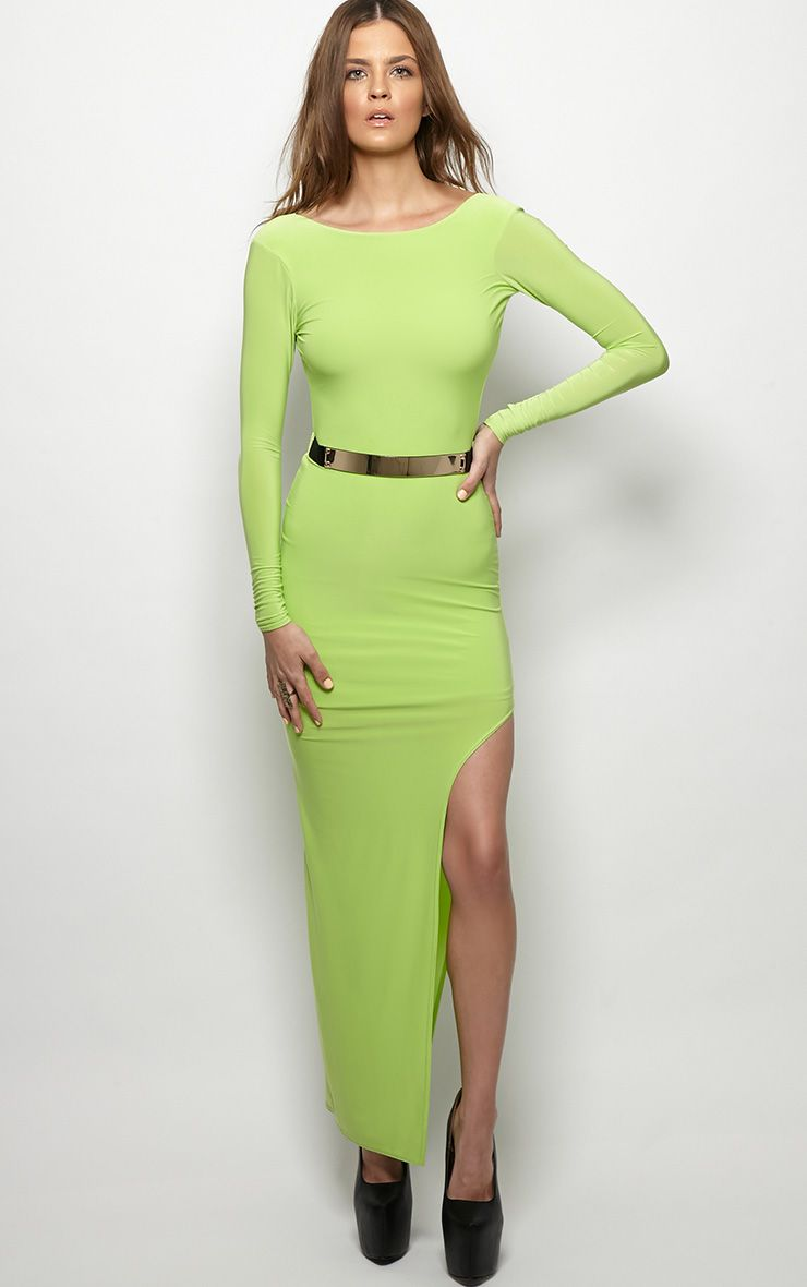Ruby Lime Maxi Dress With Gold Plate Belt 1