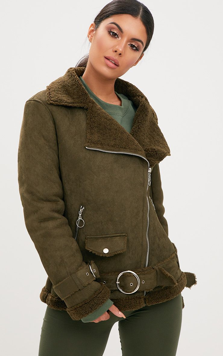 Khaki Ring Pull Suede Aviator Coat