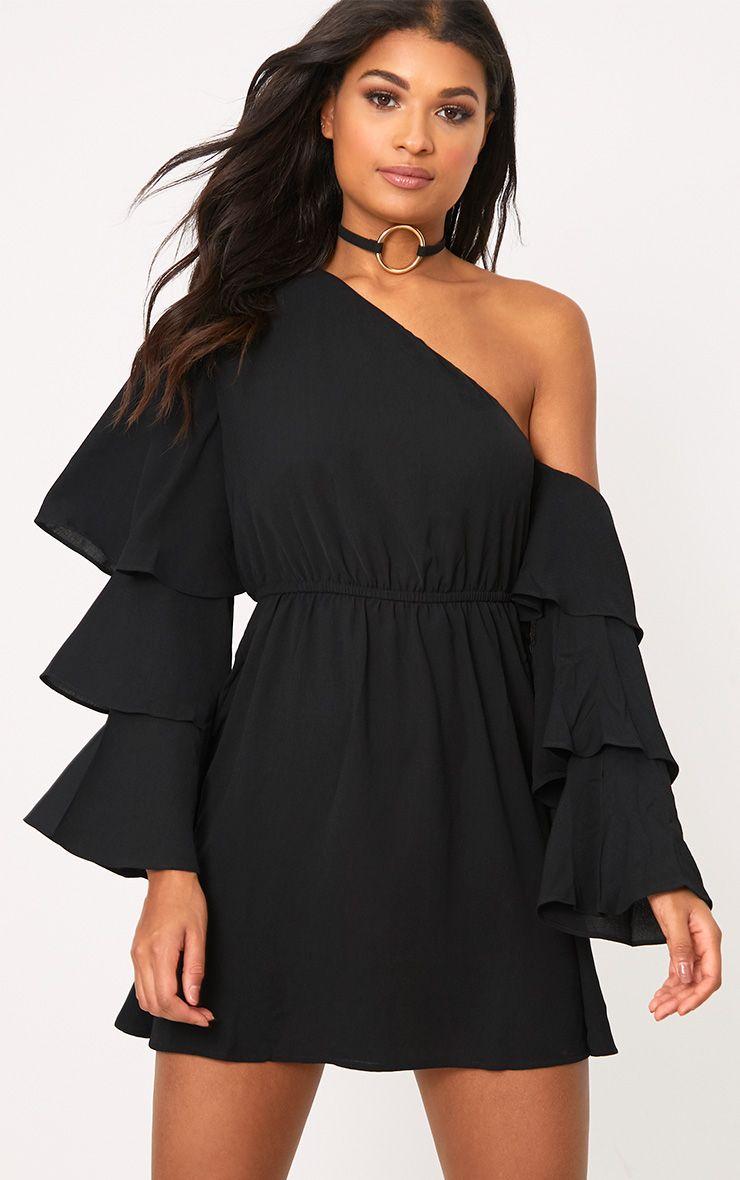 Camarah Black One Shoulder Frill Sleeve Swing Dress