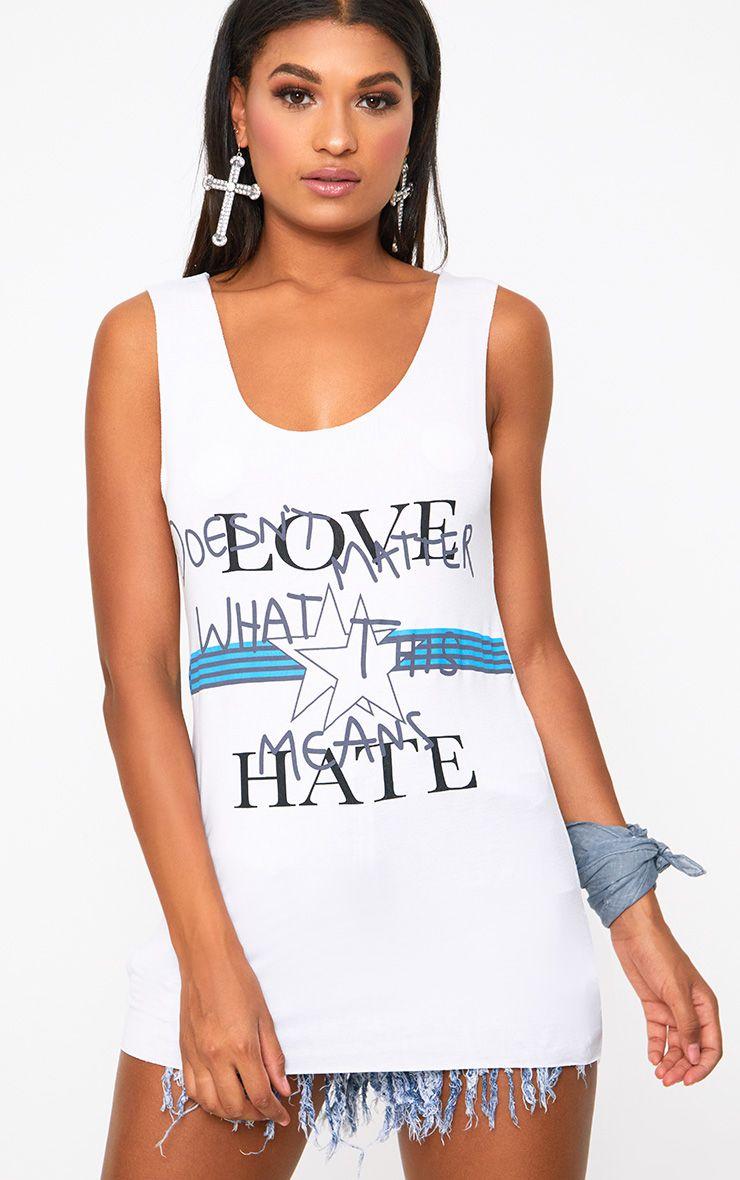 White Love Hate Slogan Raw Edge Vest