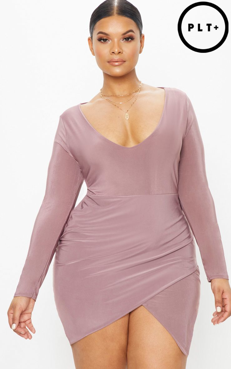 Plus Dark Mauve Second Skin Slinky High Neck Bodycon Dress Pretty Little Thing PM9lmtCm94
