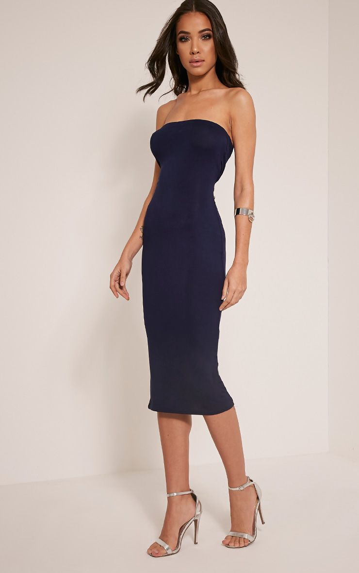 Basic Navy Jersey Bandeau Midi Dress