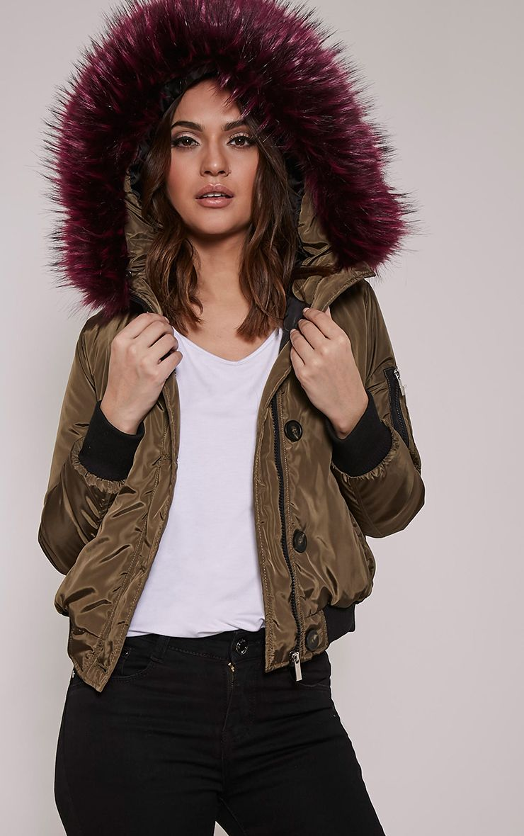 Lara Purple Premium Faux Fur Lined Crop Parka 1