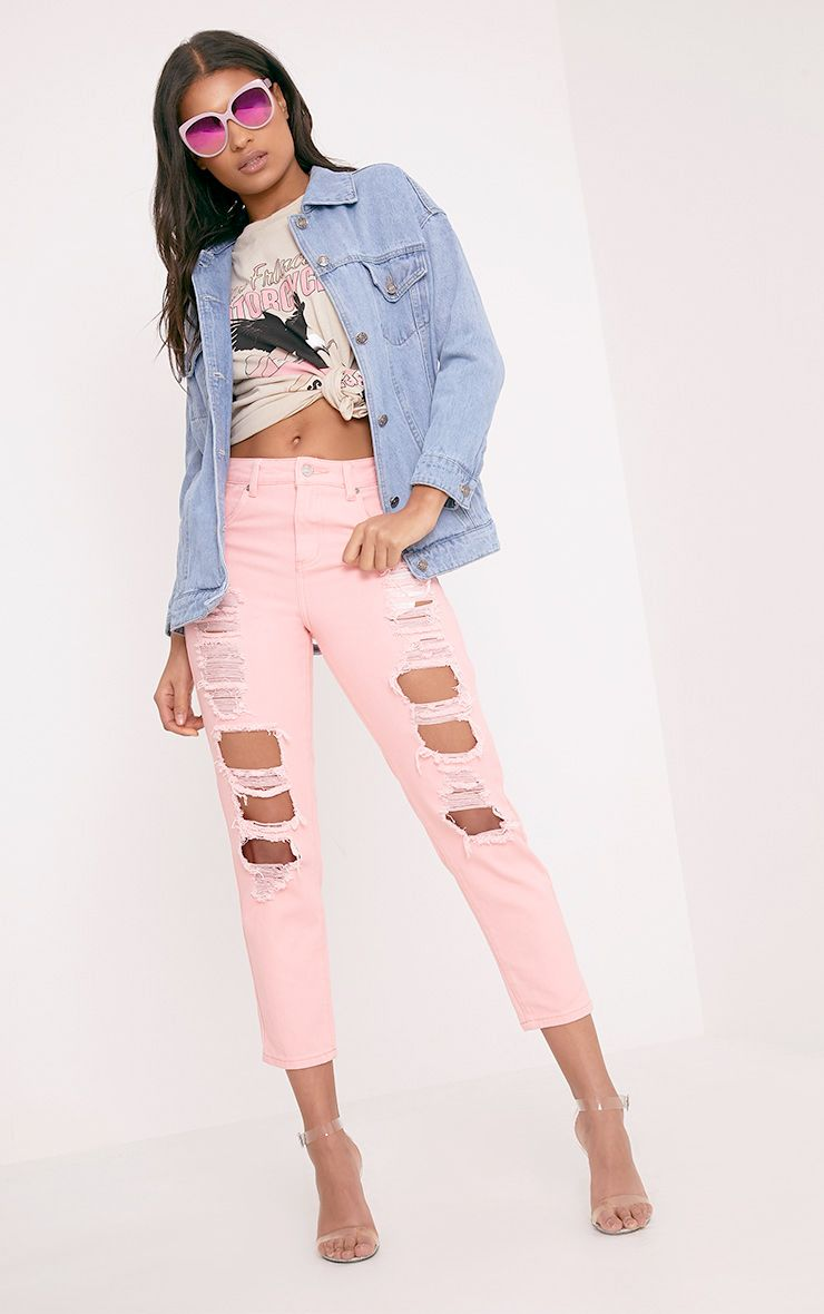 Pink Extreme Shred Mom Jean