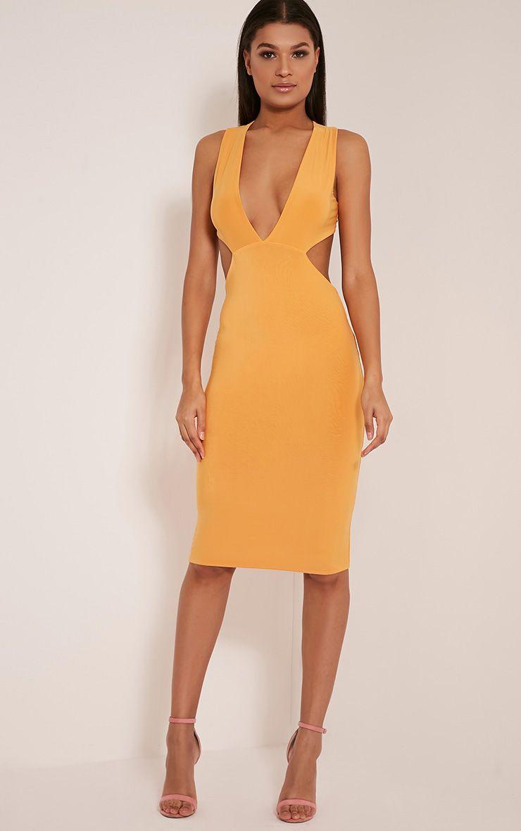 Biddy Pastel Orange Deep V Plunge Cross Back Midi Dress 1