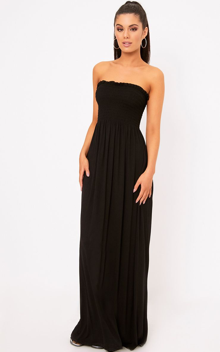 Black Shirring Detail Bandeau Maxi Dress