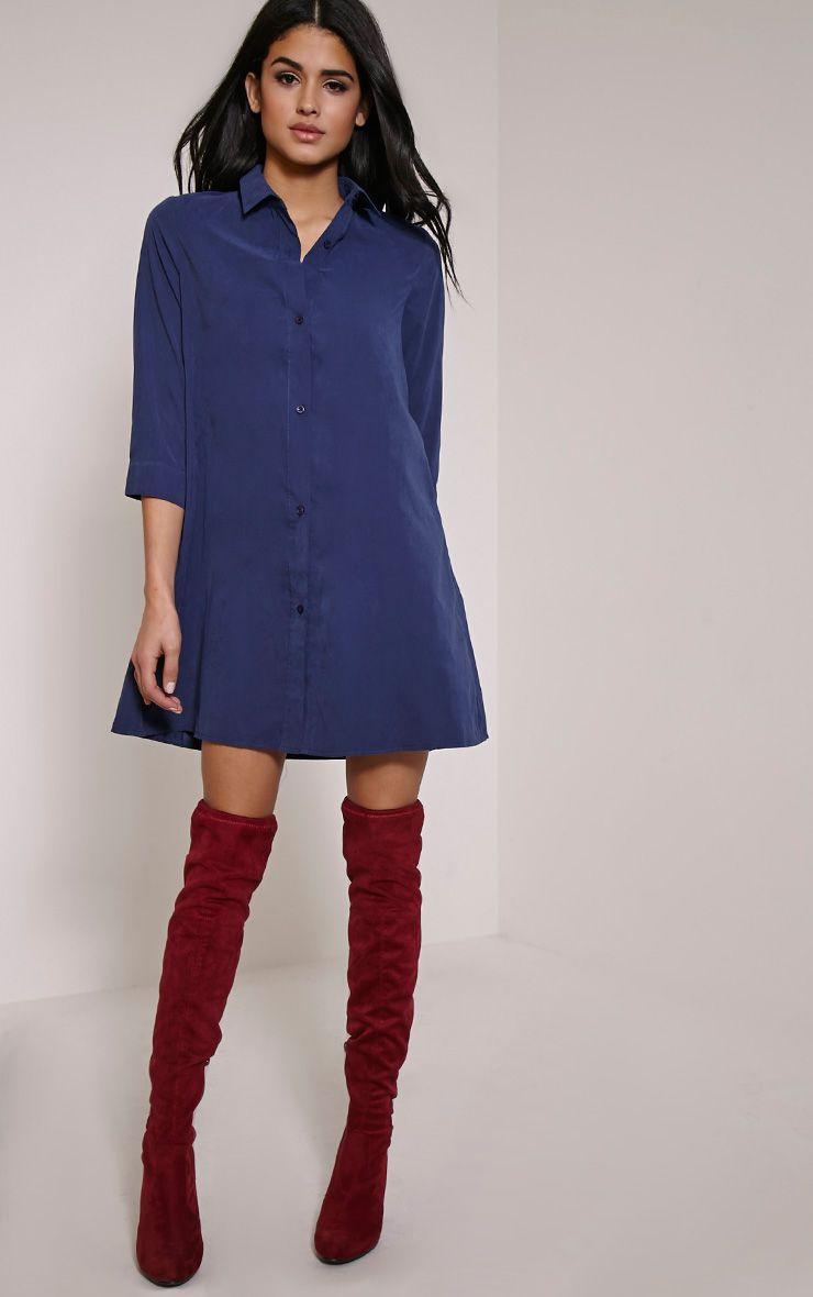 Leni Navy Shirt Dress 1