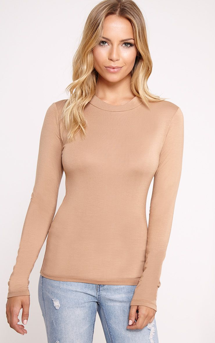 Basic Camel Turtle Neck Jersey Top 1