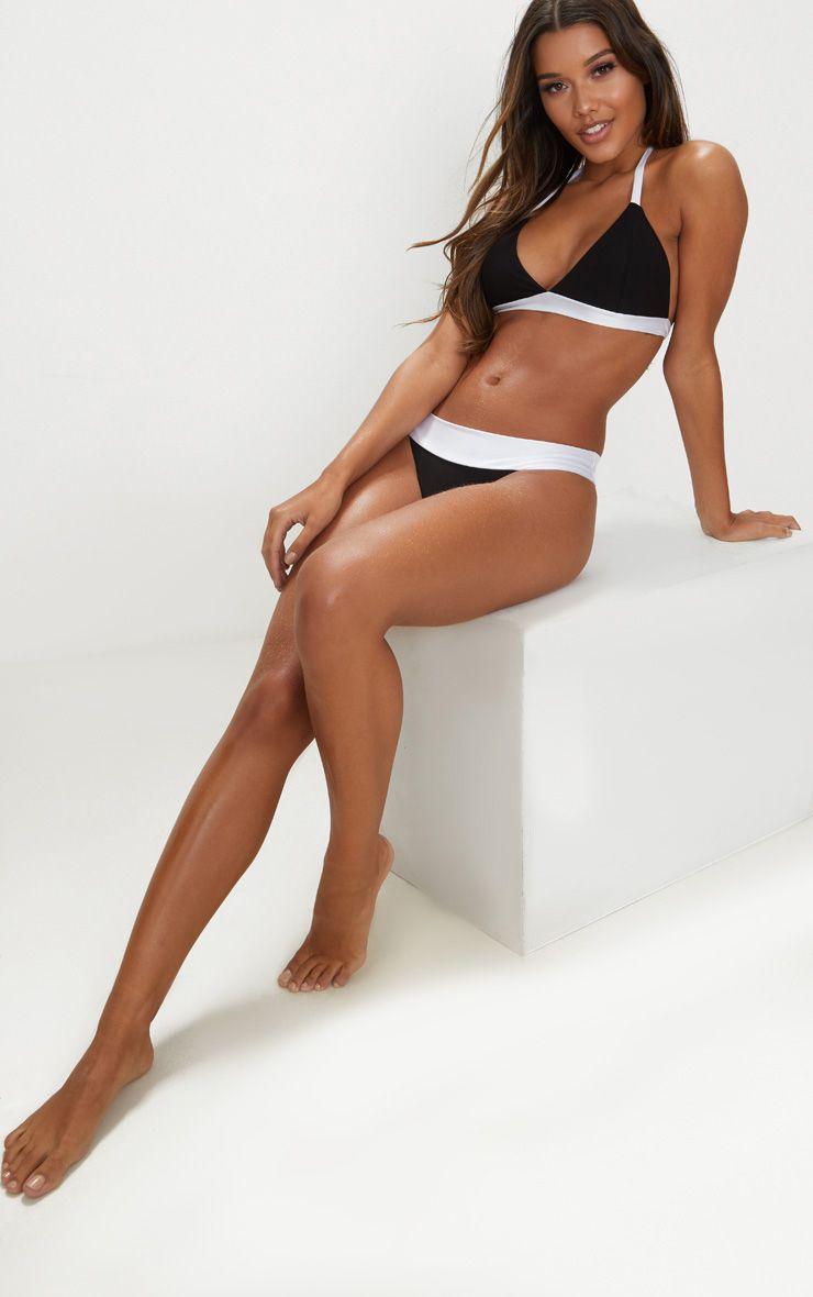 Black and White Mini Triangle Contrast Bikini Top