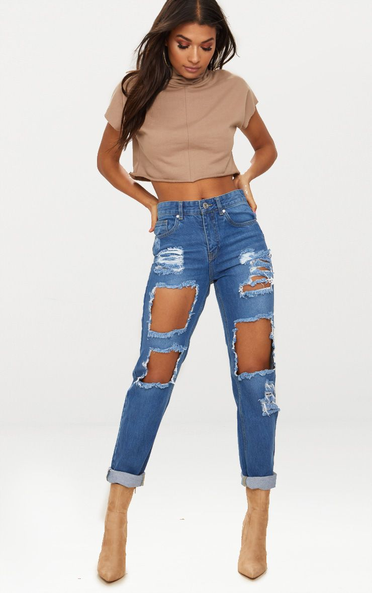 Mid Wash Extreme Open Knee Mom Jean