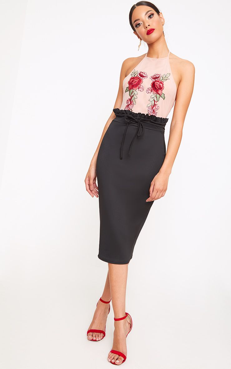 Black Paperbag Waist Midi Skirt