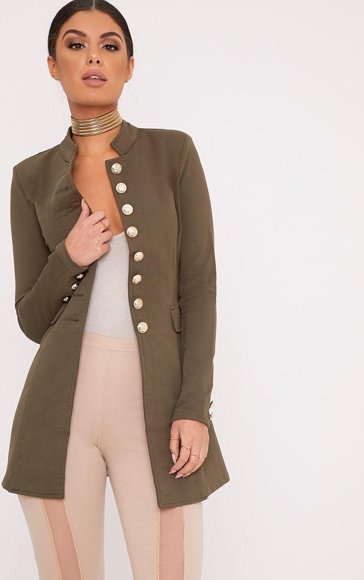 Deleana Khaki Longline Military Style Jacket